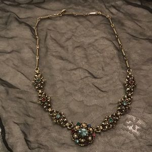 Vintage rhinestone antique gold and pearl choker